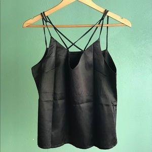 Tops - Black Silk Strappy Tank Top Camisole